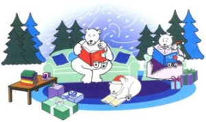 bears reading in the snow